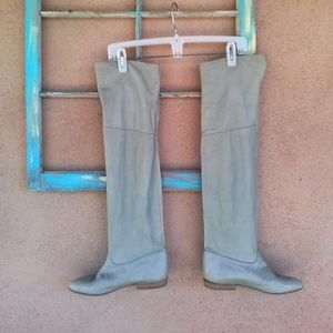 1980s Moss Green Knee High Slouch Boots Sz US7